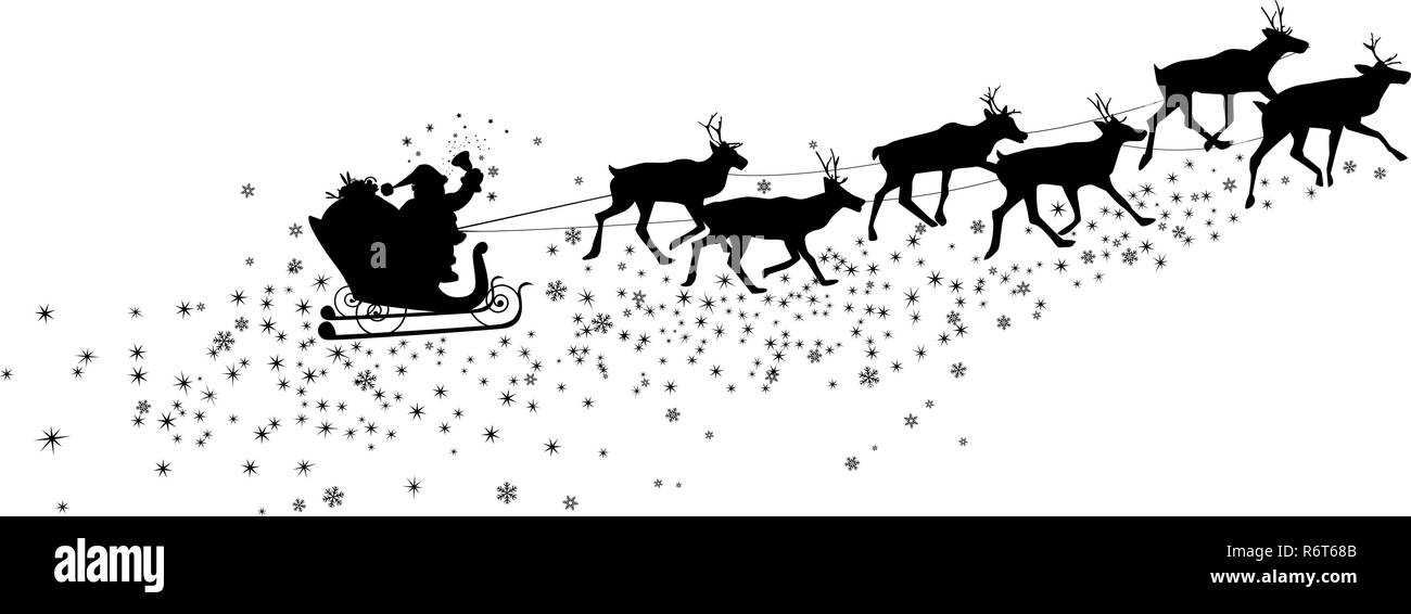 Silhouette of Santa Claus and deer. Snowflakes and asterisks. - Stock Image