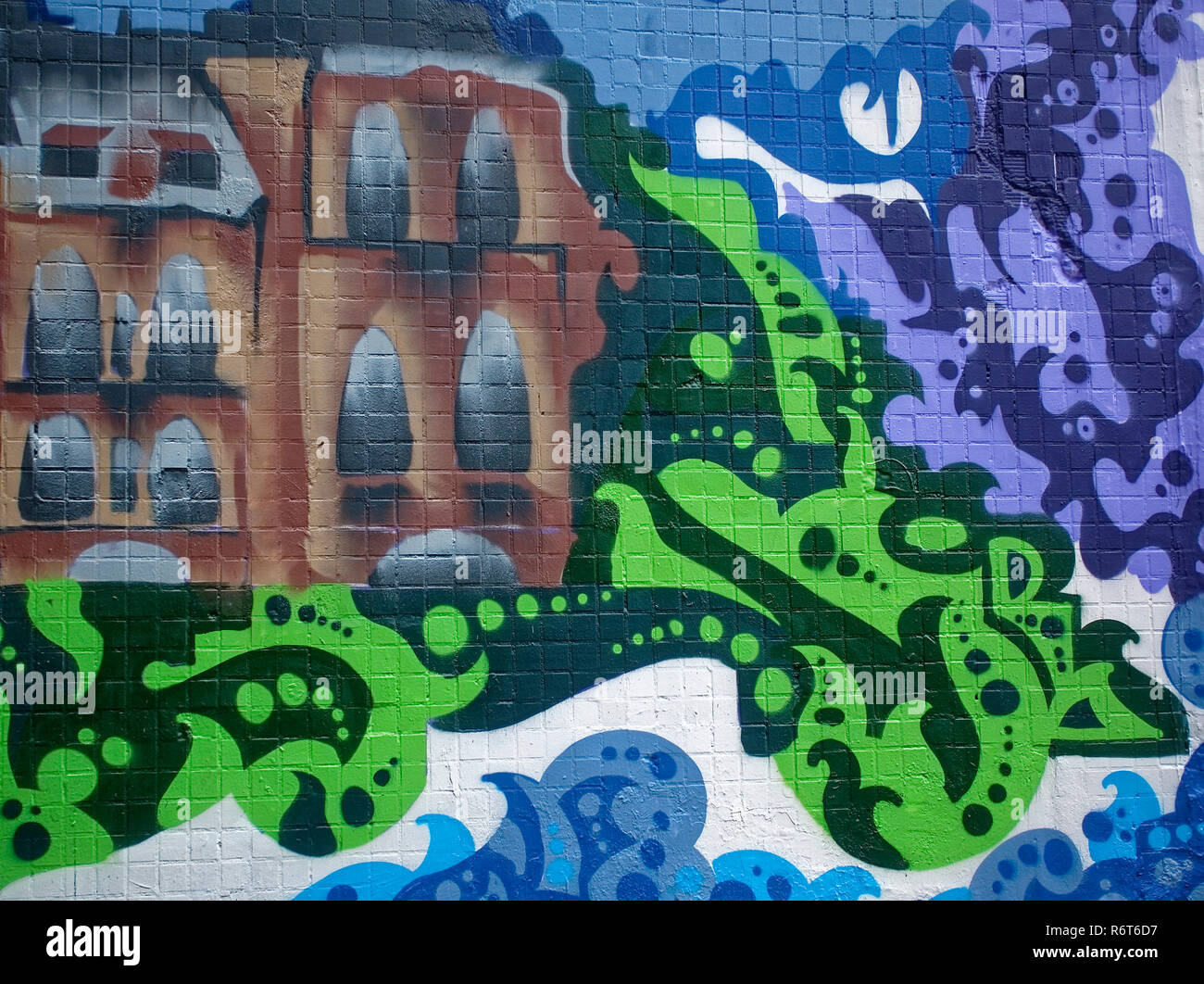 Graffiti on the wall in summer moscow stock image