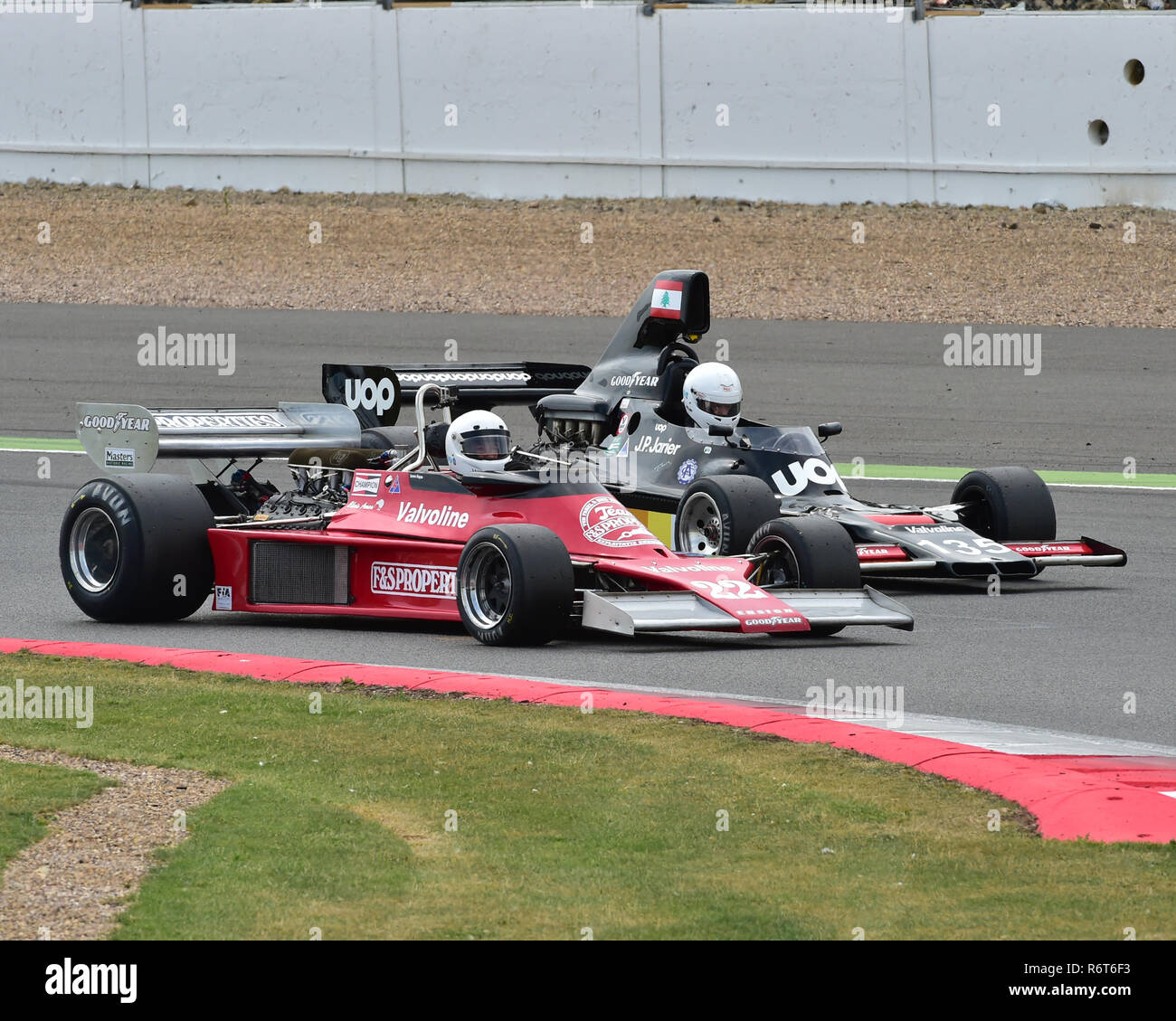 James Hagan, Ensign MN177, Greg Audi, Shadow DN5, Silverstone Classic 2014, 2014, Classic Racing Cars, F1, FIA, Ford, Formula 1, Grand Prix cars, Hist - Stock Image