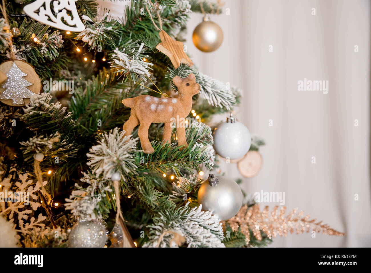 Interior Room Decorated In Christmas Style No People Neutral Pastel Colors Home Comfort Of Modern Cozy