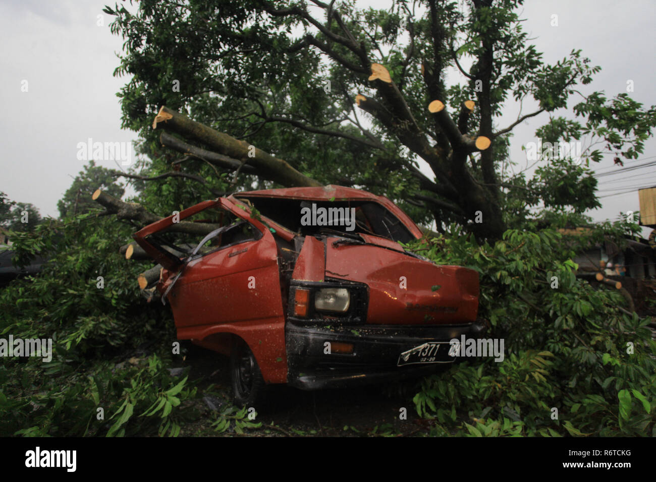 Bogor West Java Indonesia 6th Dec 2018 A Vehicle Was Crushed By