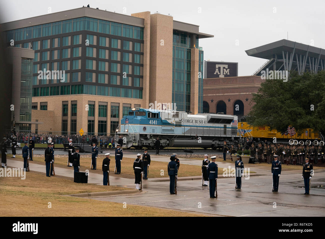 Train carrying the casket of former President George H.W. Bush from Houston arrives at Texas A&M University in College Station for burial at the nearby George Bush Library. Stock Photo