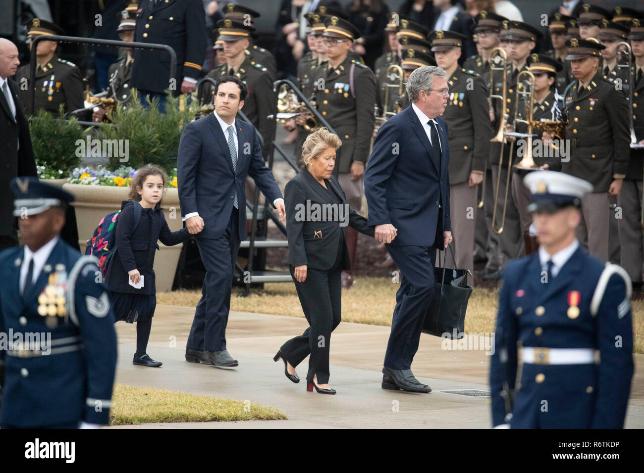 Former Florida governor Jeb Bush and wife Paloma arrive at Texas A&M University with the train carrying the casket of former President George H.W. Bush before burial at the nearby George Bush Library. Stock Photo