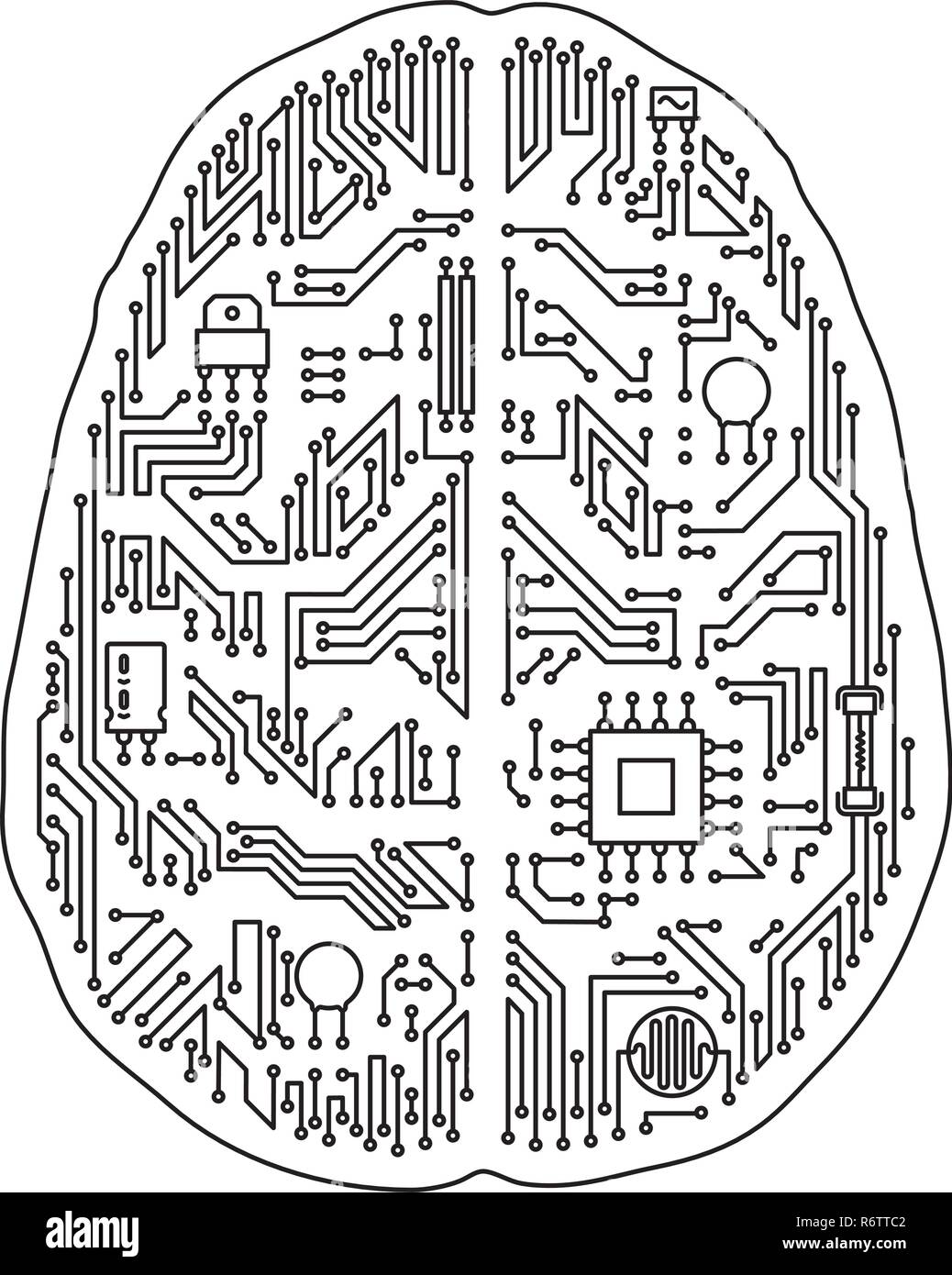 Motherboard human brain shaped isolated vector illustration. Black and white artificial intelligence and technology concept. - Stock Image