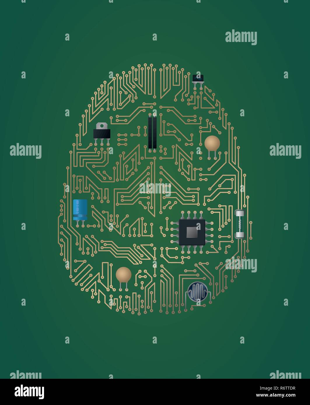 Human brain motherboard vector illustration. Artificial intelligence concept. - Stock Image
