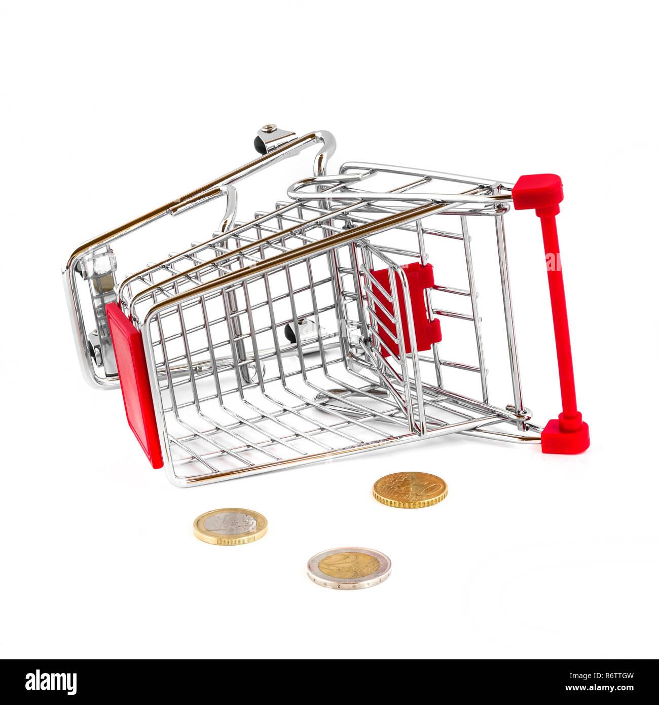 Cart broken and money fallen out - Stock Image