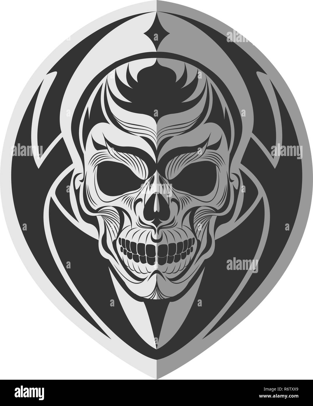 5410c9df3 Decorative black and white tribal skull flat paper memorable art for  sticker, tattoo or t-shirt printing