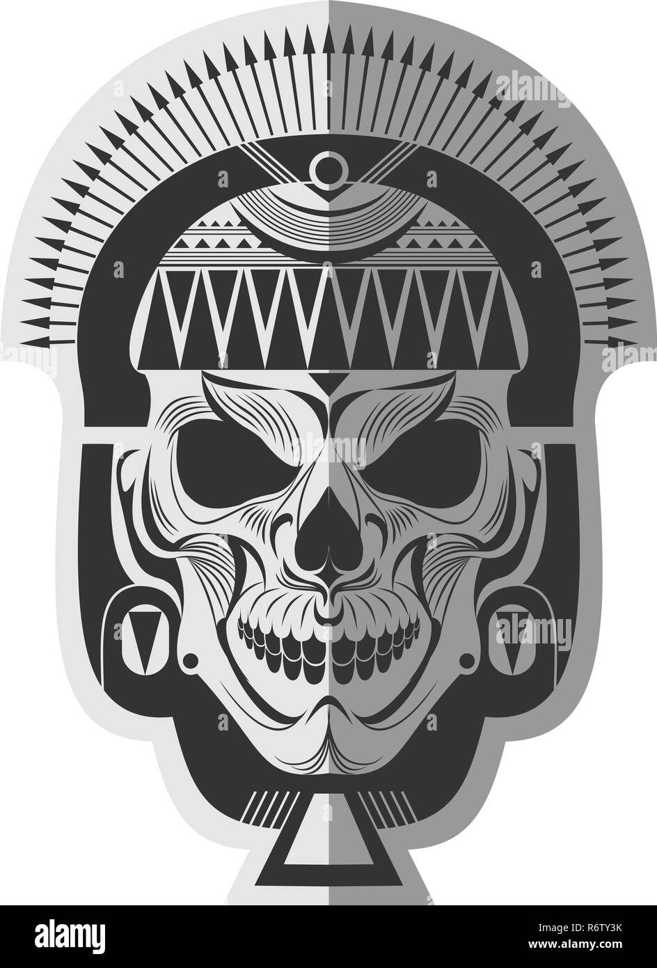 Decorative Black And White Ancient Maya Skull Memorable Art For