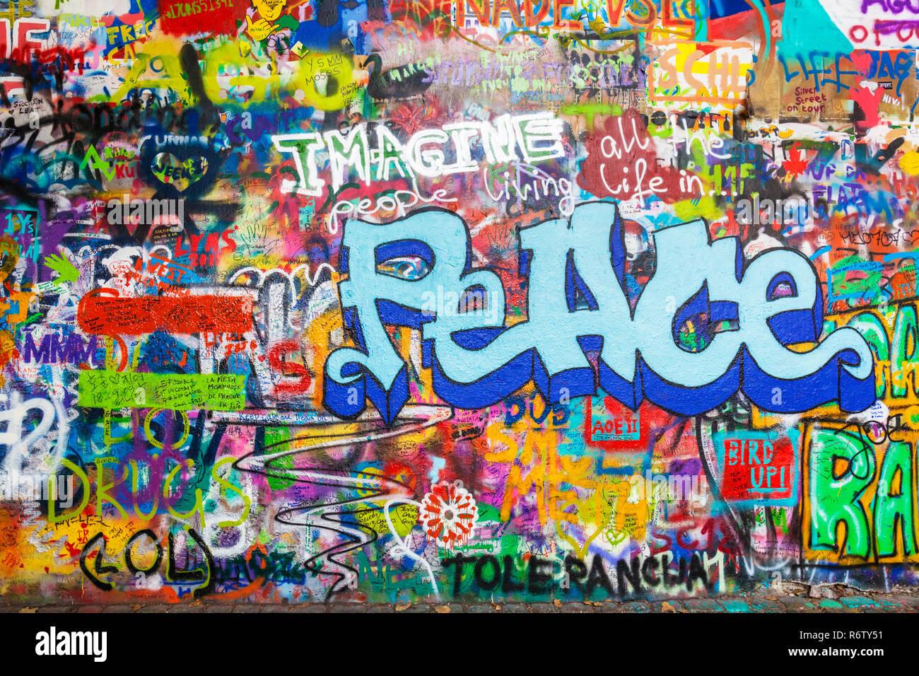 Prague Lennon Wall Lennonova zeď with peace graffiti Prague Velkopřevorské náměstí, Malá Strana Prague Czech Republic Europe - Stock Image