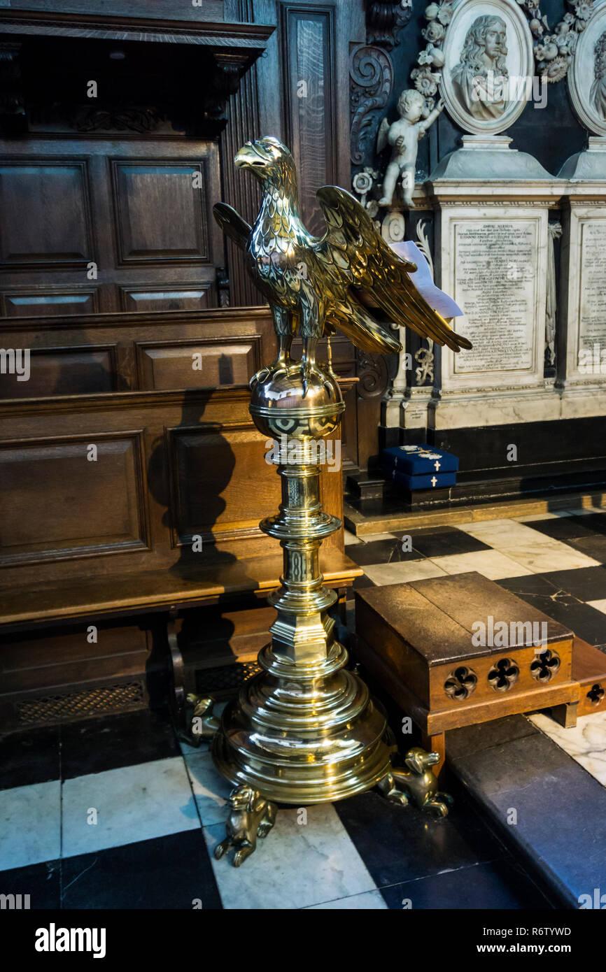 Mediaeval brass eagle lectern of Christ's Chapel, Cambridge. - Stock Image