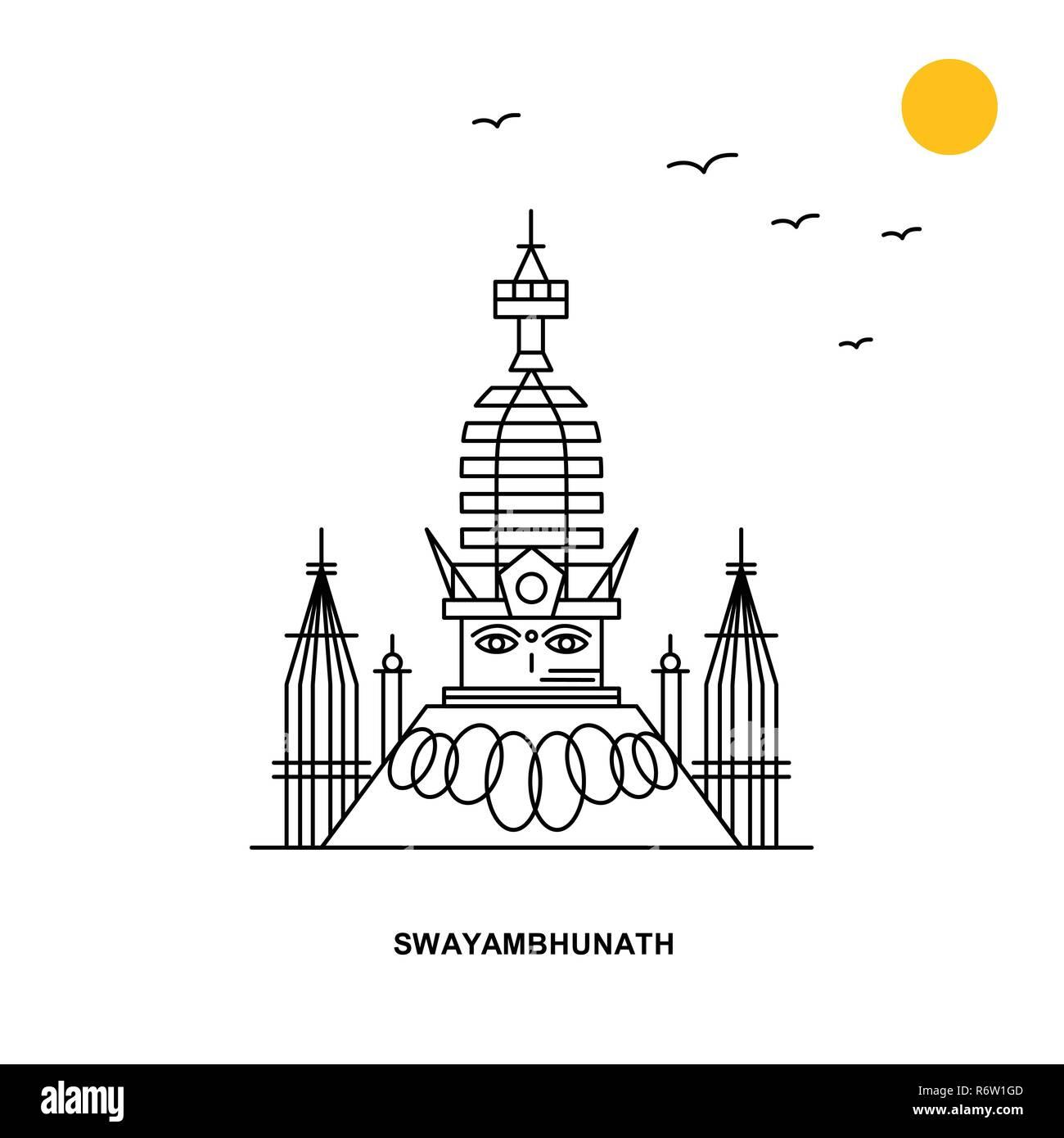 SWAYAMBHUNATH Monument. World Travel Natural illustration Background in Line Style - Stock Image