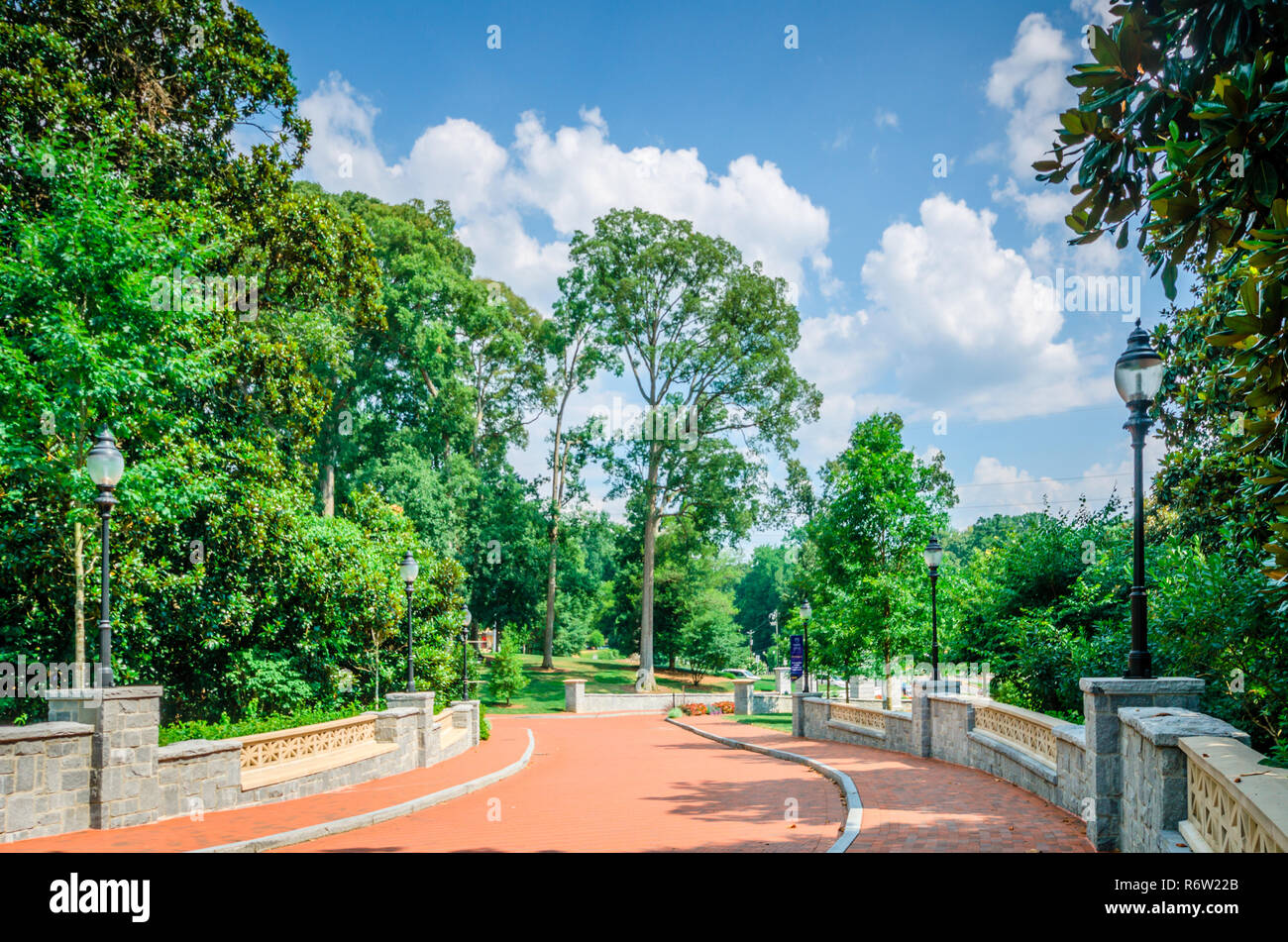A winding driveway leads to Emory University, July 7, 2014, in Atlanta, Georgia. Emory was founded in 1836 and is a private research university. - Stock Image