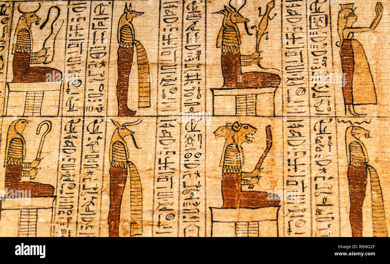 A papyrus scroll bears the Amduat of Tanetshedkhons at the Michael C. Carlos Museum at Emory University, July 8, 2014, in Atlanta, Georgia. - Stock Image