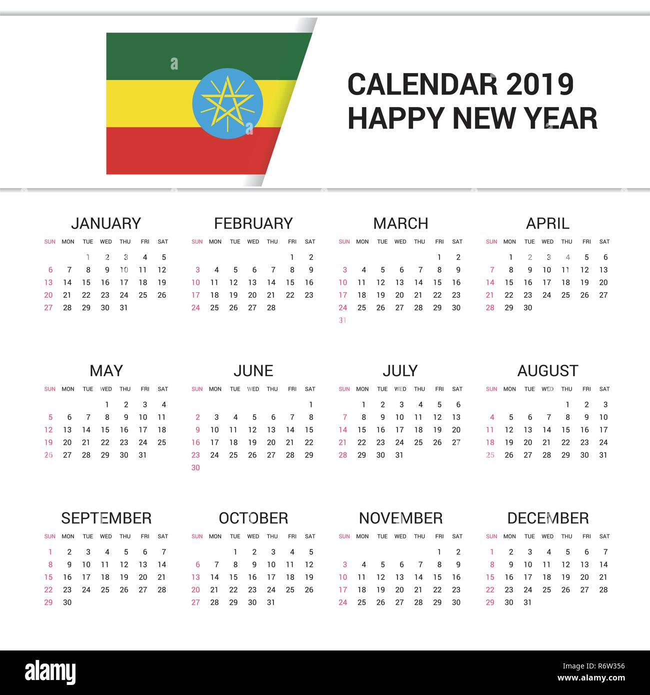 Calendar 2019 Ethiopia Flag Background English Language Stock