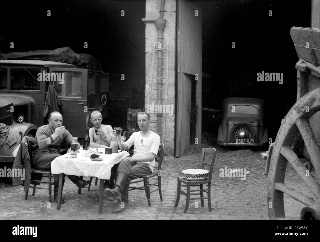 1940 WW2 German Army Soldiersrelaxing off duty in northern France - Stock Image