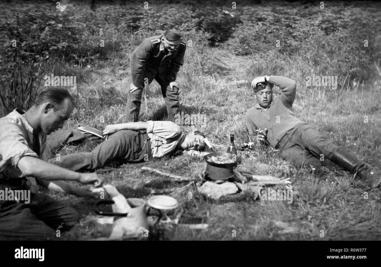 1940 WW2 German Army Soldiers relaxing off duty in northern France - Stock Image