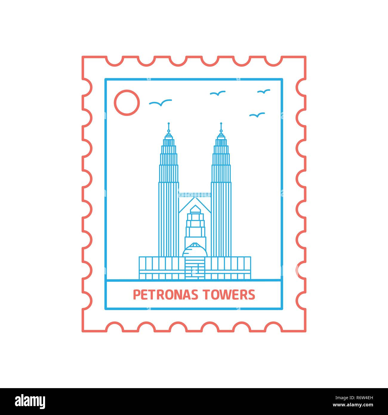 PETRONAS TOWERS postage stamp Blue and red Line Style, vector illustration - Stock Vector