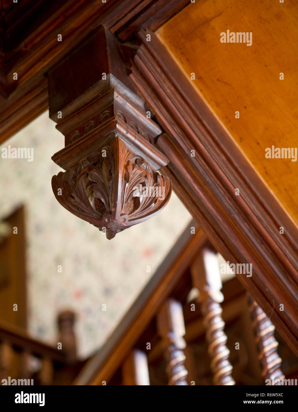 Oak Carved Newel Cap To Stairs Stock Photo: 227976180   Alamy