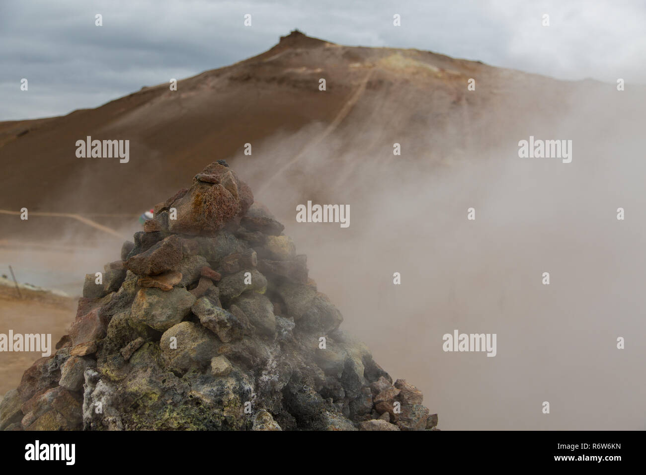 Fumeroles and steam at Hverir, Namafjall, Iceland Stock Photo