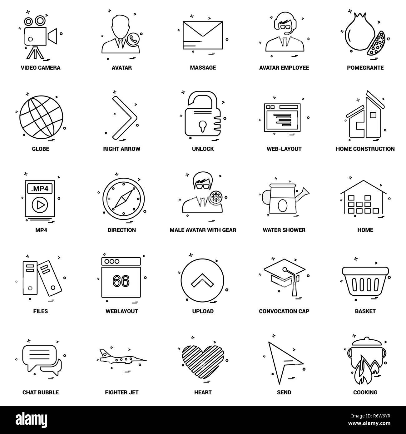 25 Business Concept Mix Line Icon set - Stock Image