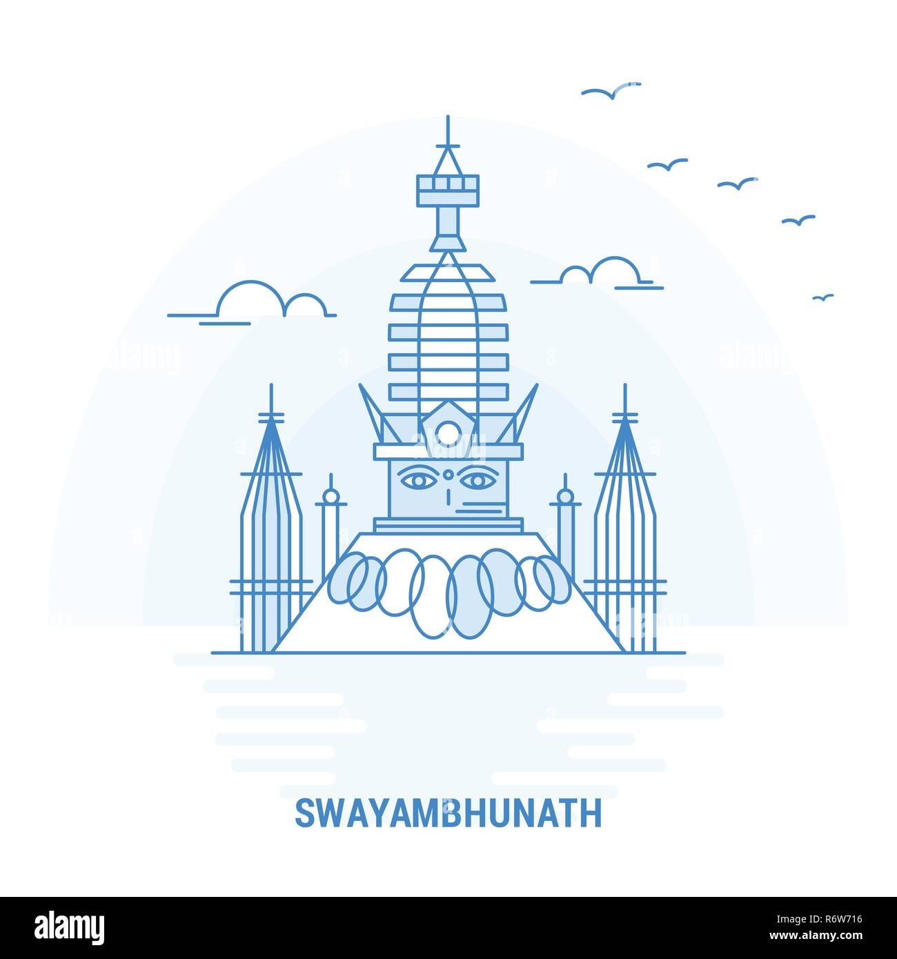 SWAYAMBHUNATH Blue Landmark. Creative background and Poster Template - Stock Image