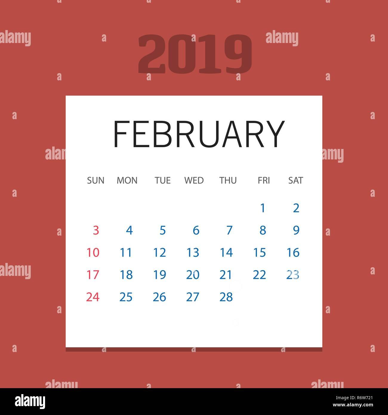 Christmas 2019 Calendar.2019 Happy New Year February Calendar Template Christmas
