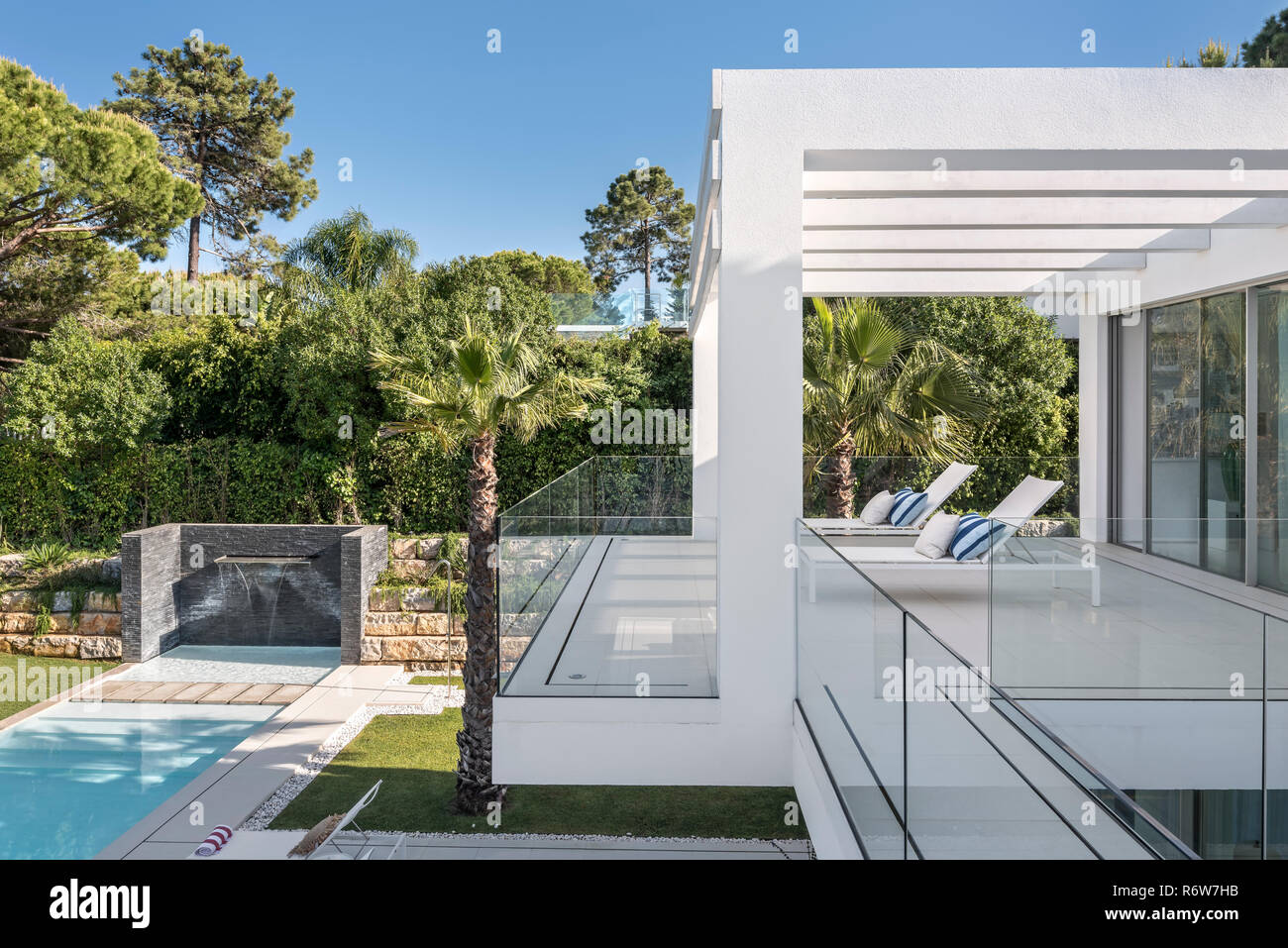 build a balcony Lap Pool And Lawn Set In Grounds Of New Build Villa Quinta