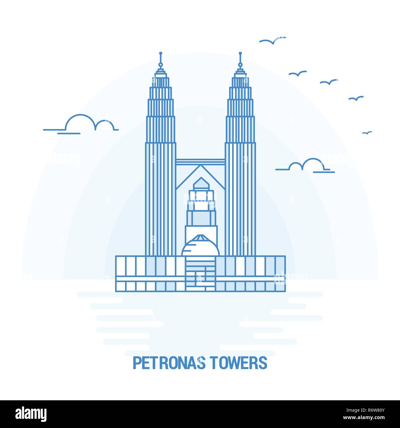 PETRONAS TOWERS Blue Landmark. Creative background and Poster Template - Stock Vector