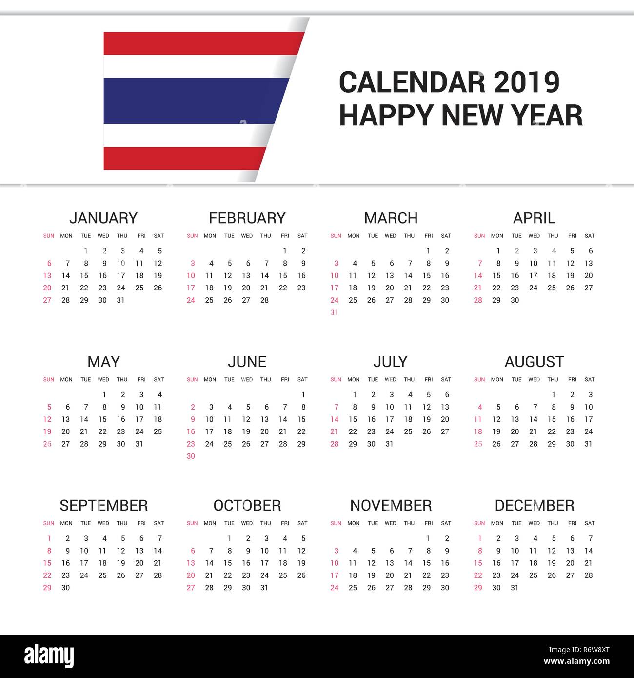 Calendar Thailand 2019 Calendar 2019 Thailand Flag background. English language Stock