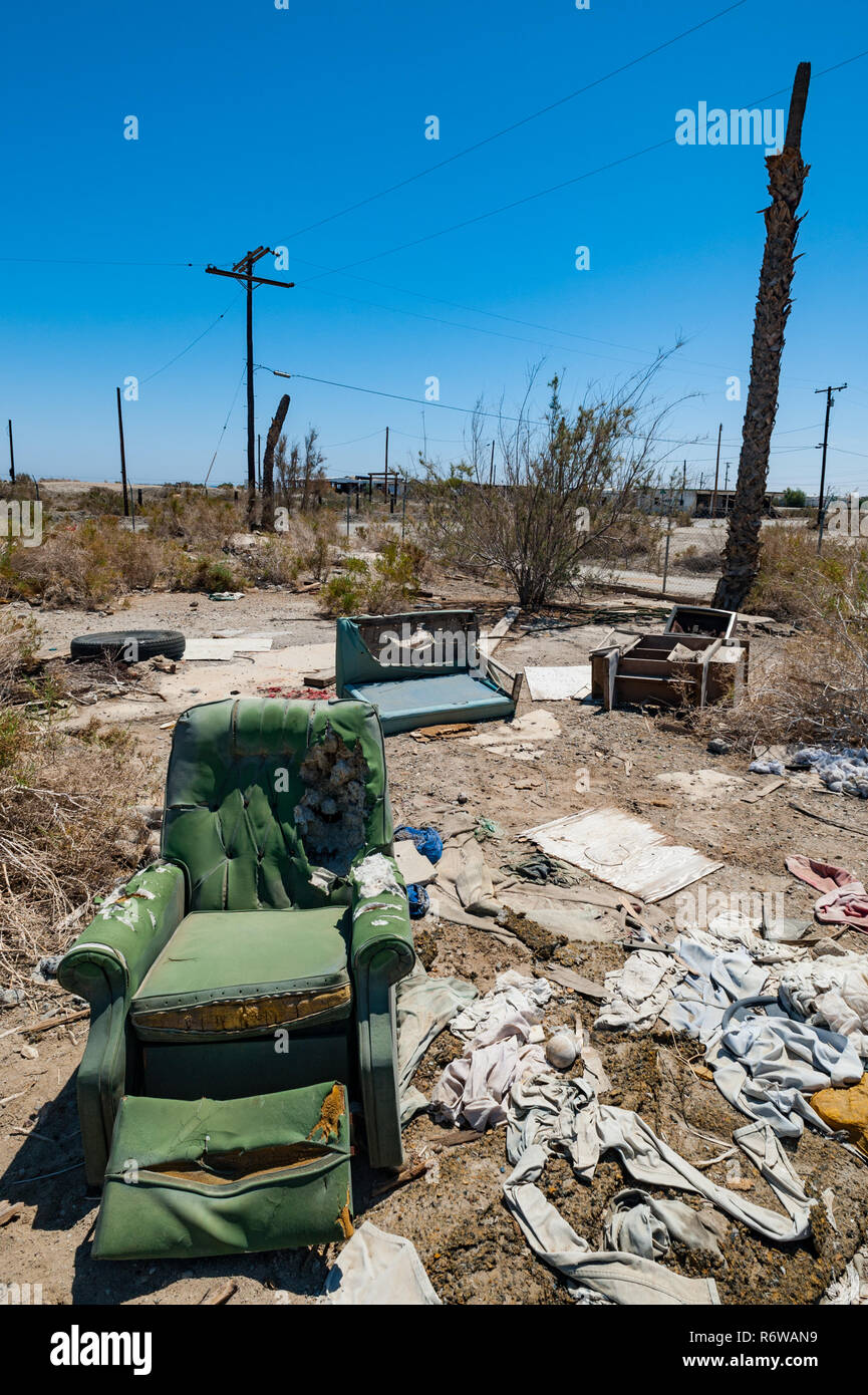Post apocaliptic landscape of Salton city in southern California - Stock Image