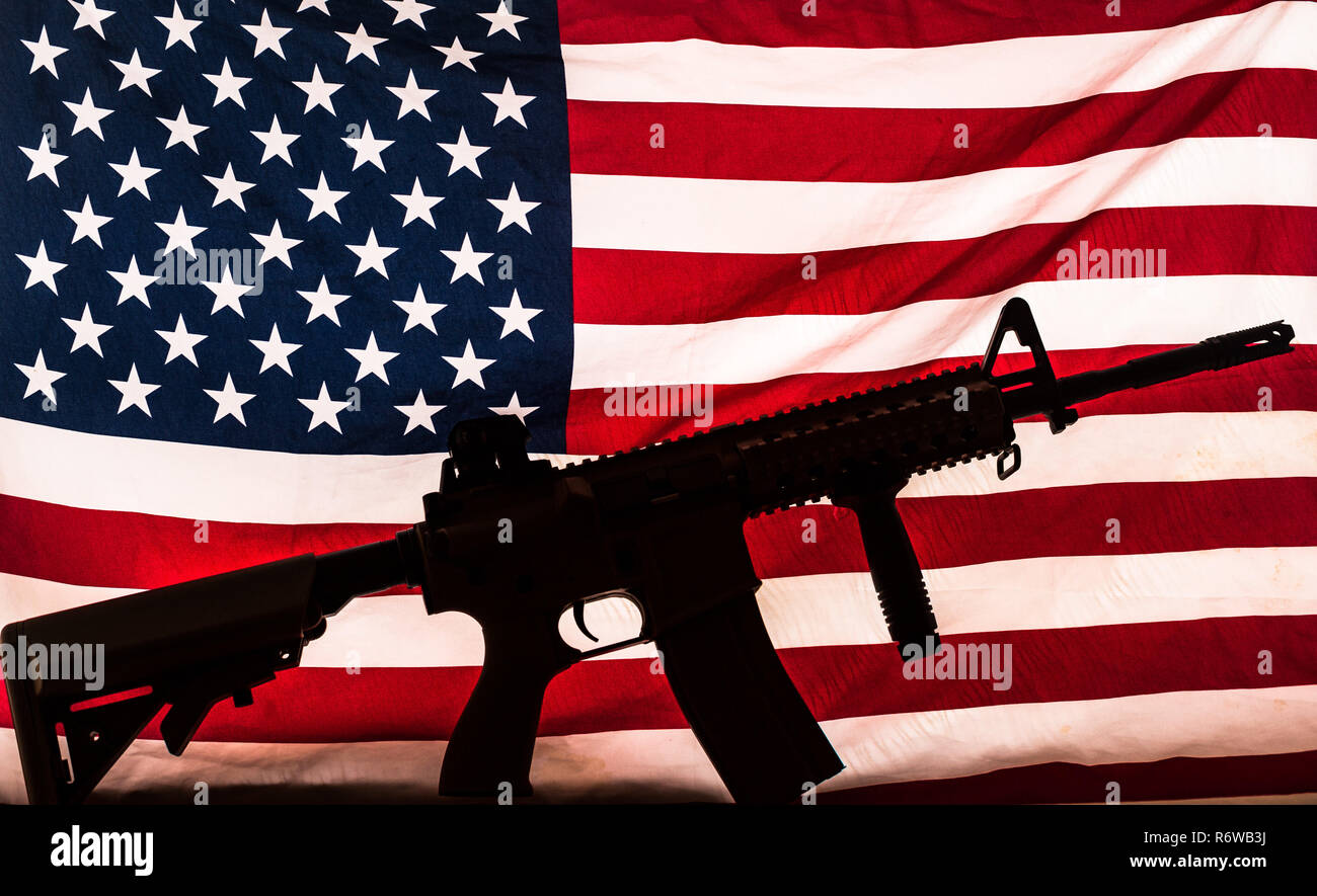 Ar 15 Carbine Rifle Silhouette And American Stars Stripes Flag