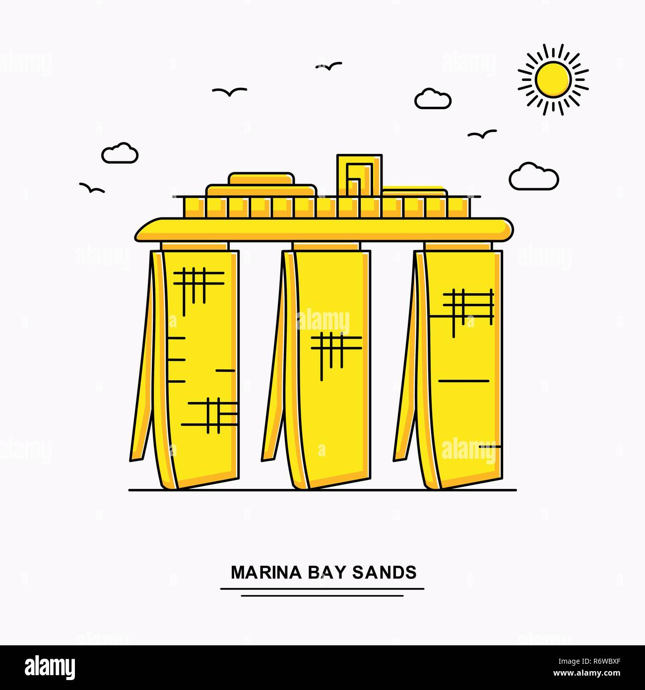 MARINA BAY SANDS Monument Poster Template. World Travel Yellow illustration Background in Line Style with beauture nature Scene - Stock Image