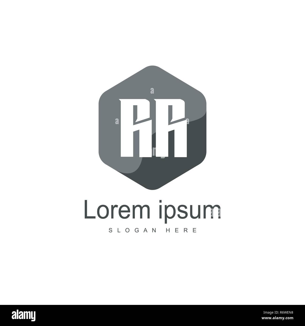 Initial RR Logo Template. Minimalist letter logo template design - Stock Vector