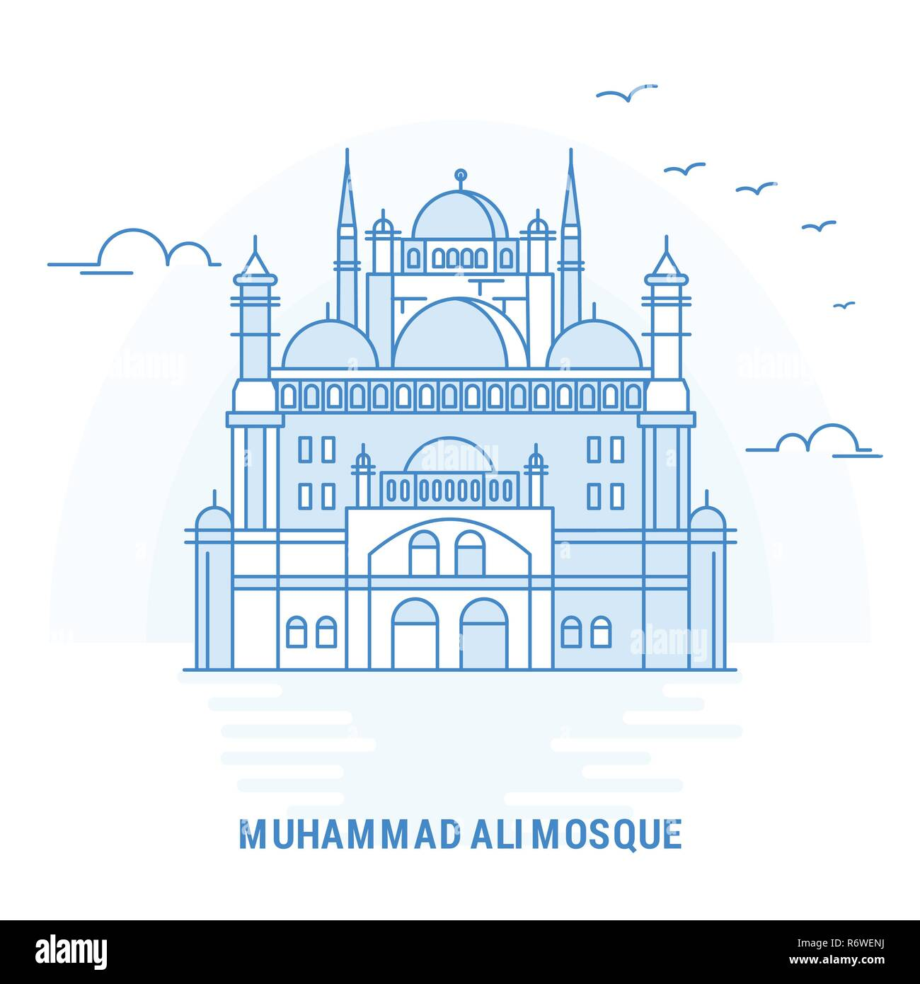 MUHAMMAD ALI MOSQUE Blue Landmark. Creative background and Poster Template - Stock Image