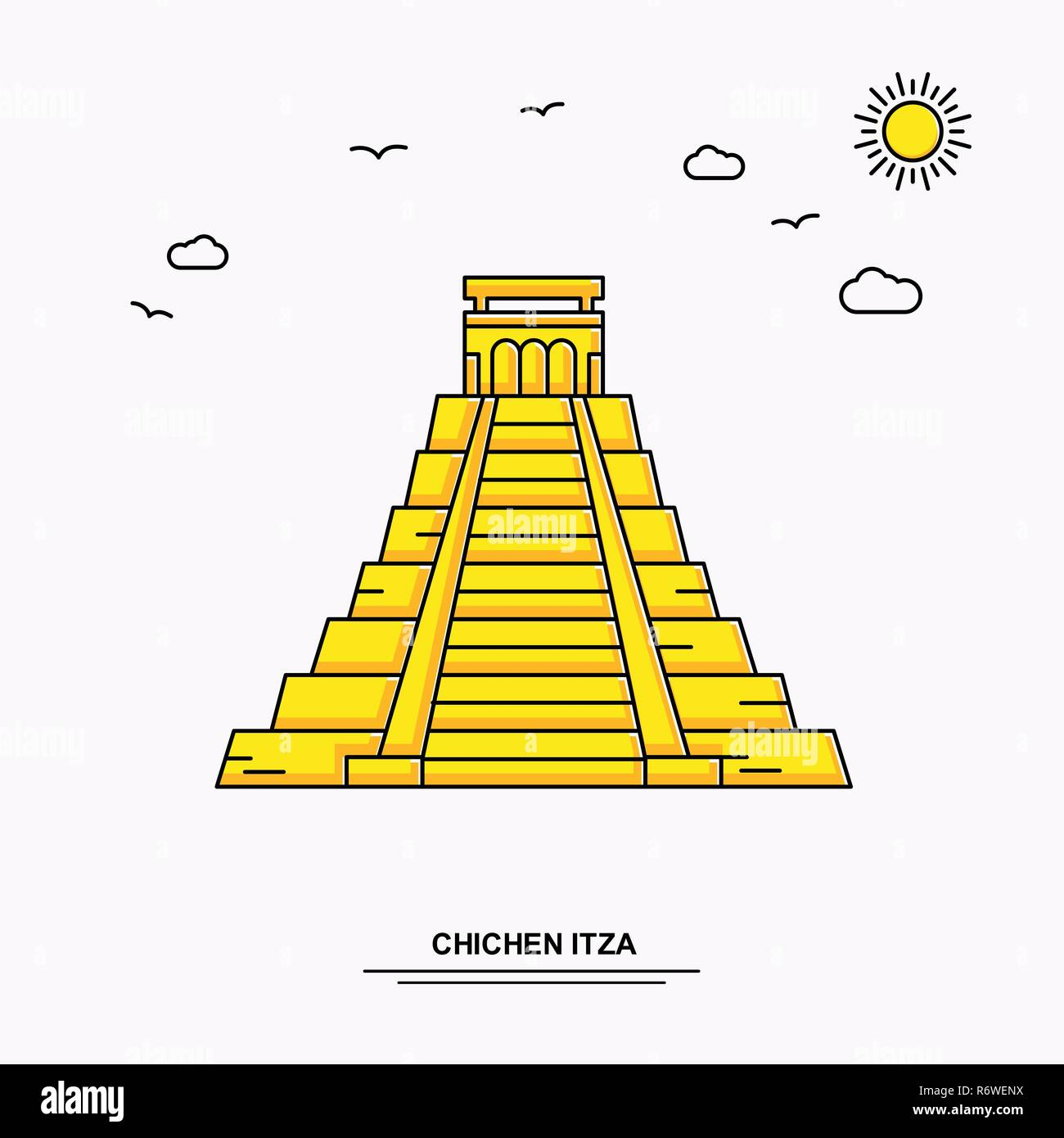 CHICHEN ITZA Monument Poster Template. World Travel Yellow illustration Background in Line Style with beauture nature Scene - Stock Image
