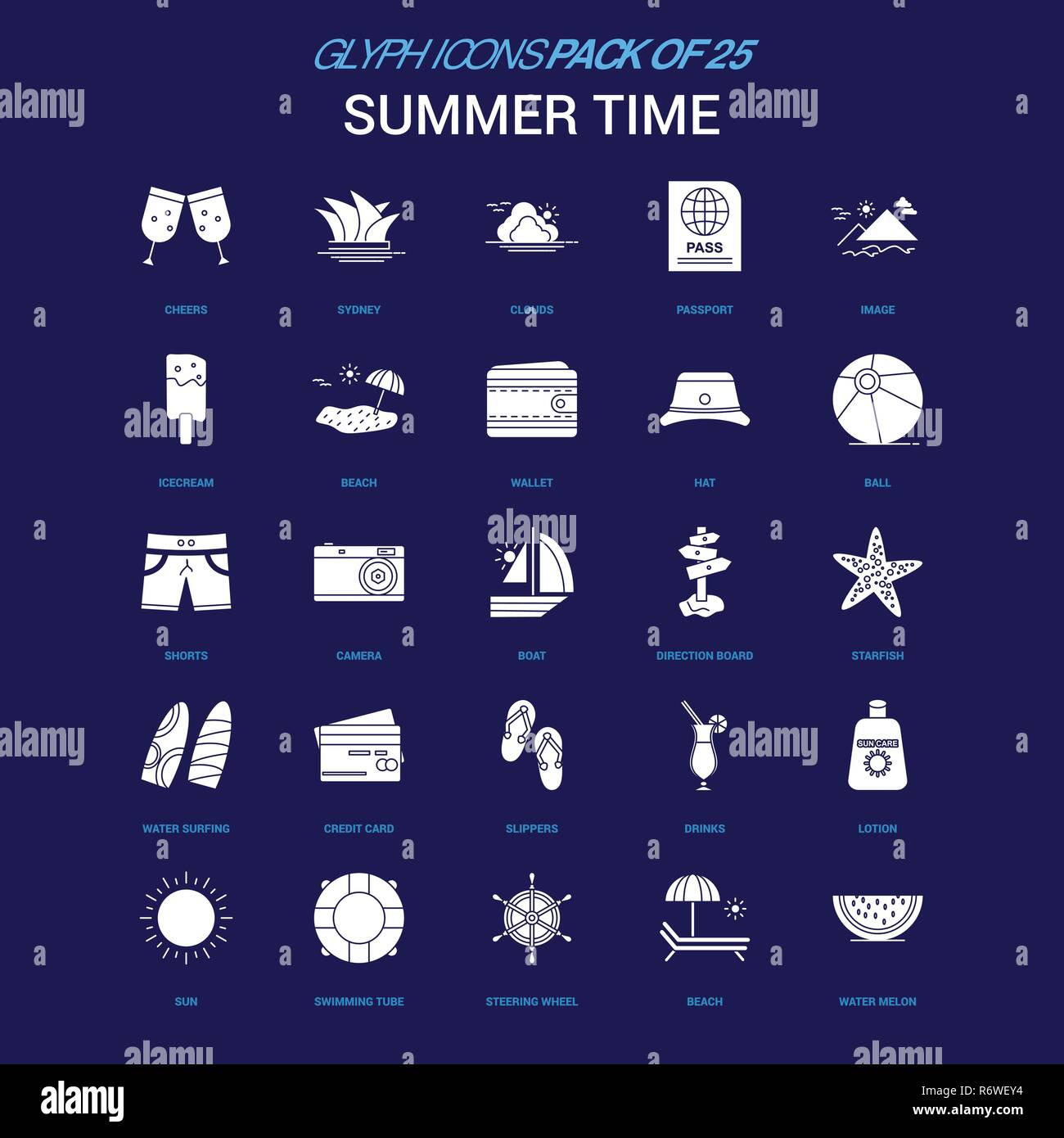 Summer Time White icon over Blue background. 25 Icon Pack - Stock Vector