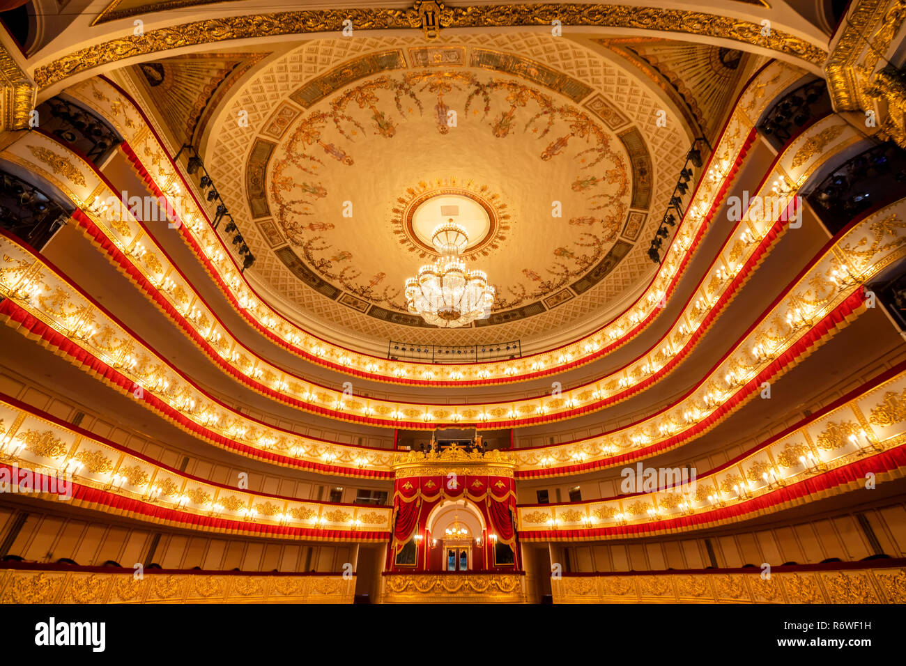 View from the stage of the auditorium of the Alexandrinsky Theater before a performance in St. Petersburg city, Russia - Stock Image