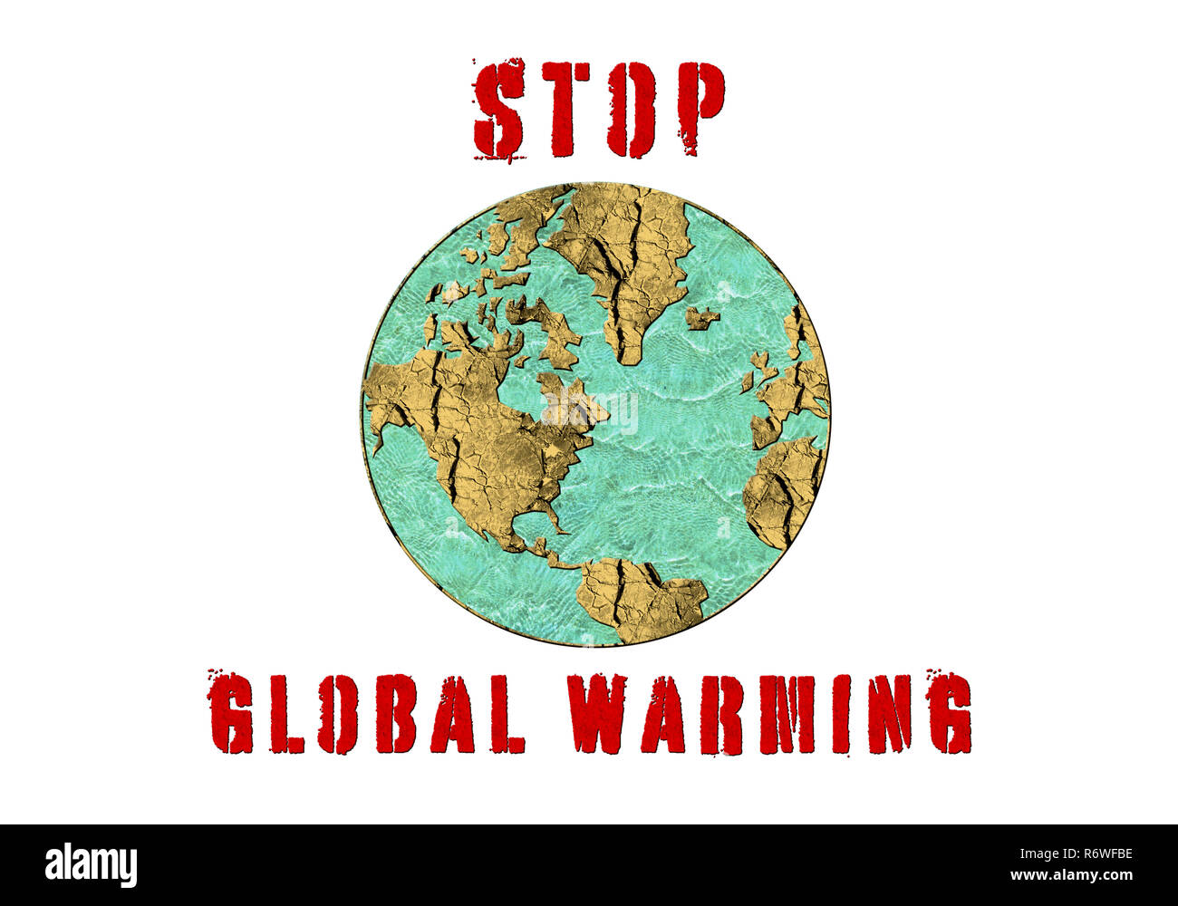 Stop Global Warming, a conceptual image symbolising effects of drastic change in climate and environment of our planet - Stock Image