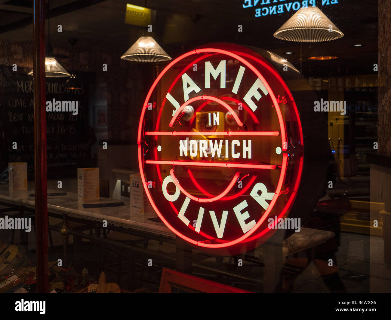 Jamie Oliver in Norwich Restaurant - Jamie Oliver Norwich restaurant in the Royal Arcade in central Norwich - Stock Image