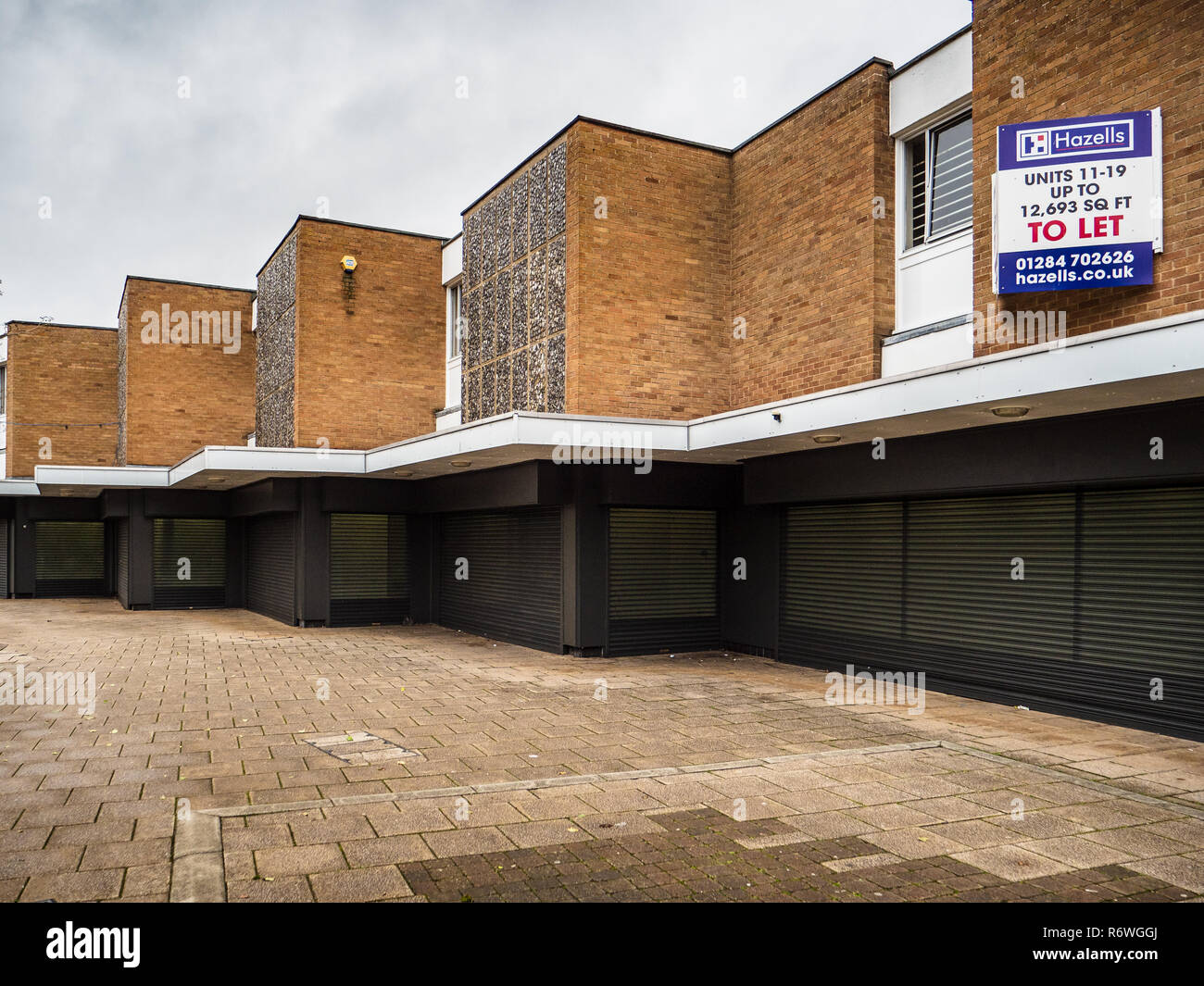 Empty Shop Units in the Norfolk Market town of Thetford - Stock Image