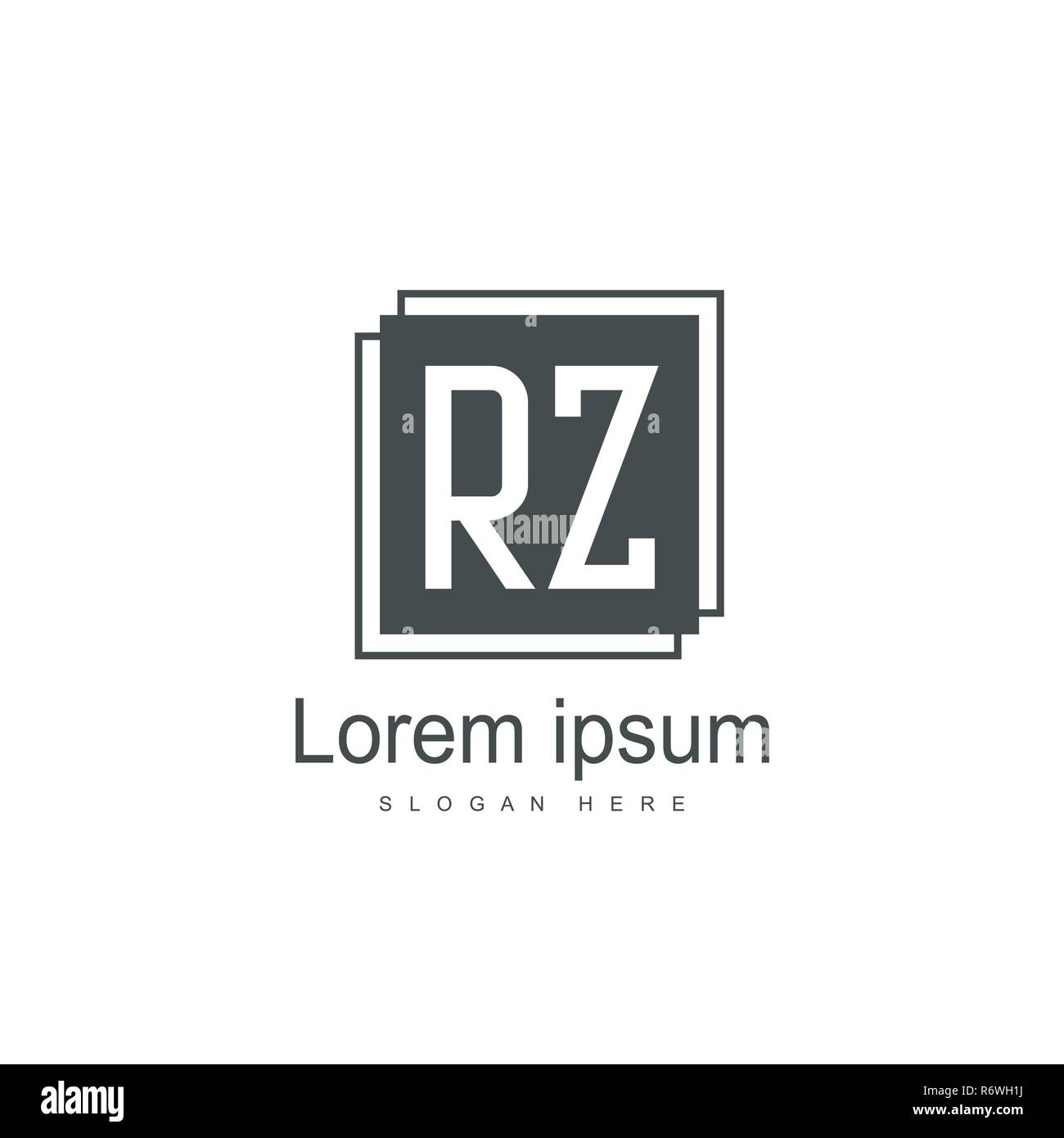 Initial RZ Logo Template. Minimalist letter logo template design - Stock Vector