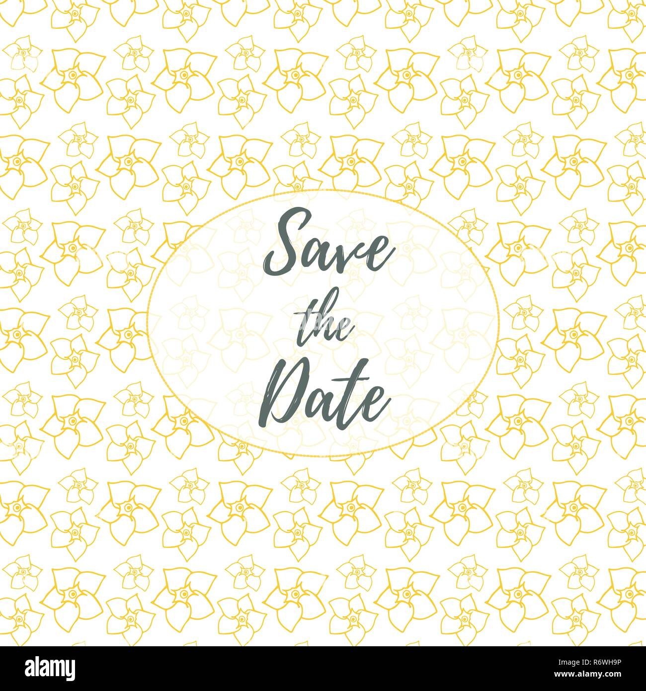 Save The Date Wedding Invitation Card Template With Golden Flowers