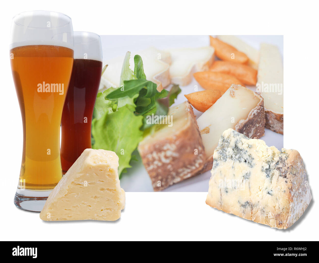 Cheese and beer aperitif infographic - Stock Image