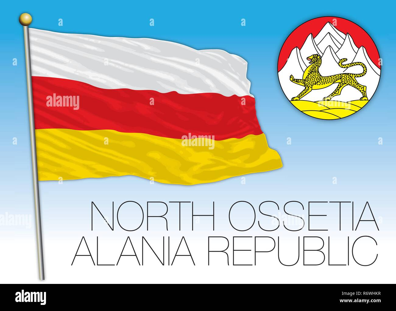 North Ossetia Alania Republic flag, Russian Federation, vector illustration - Stock Image
