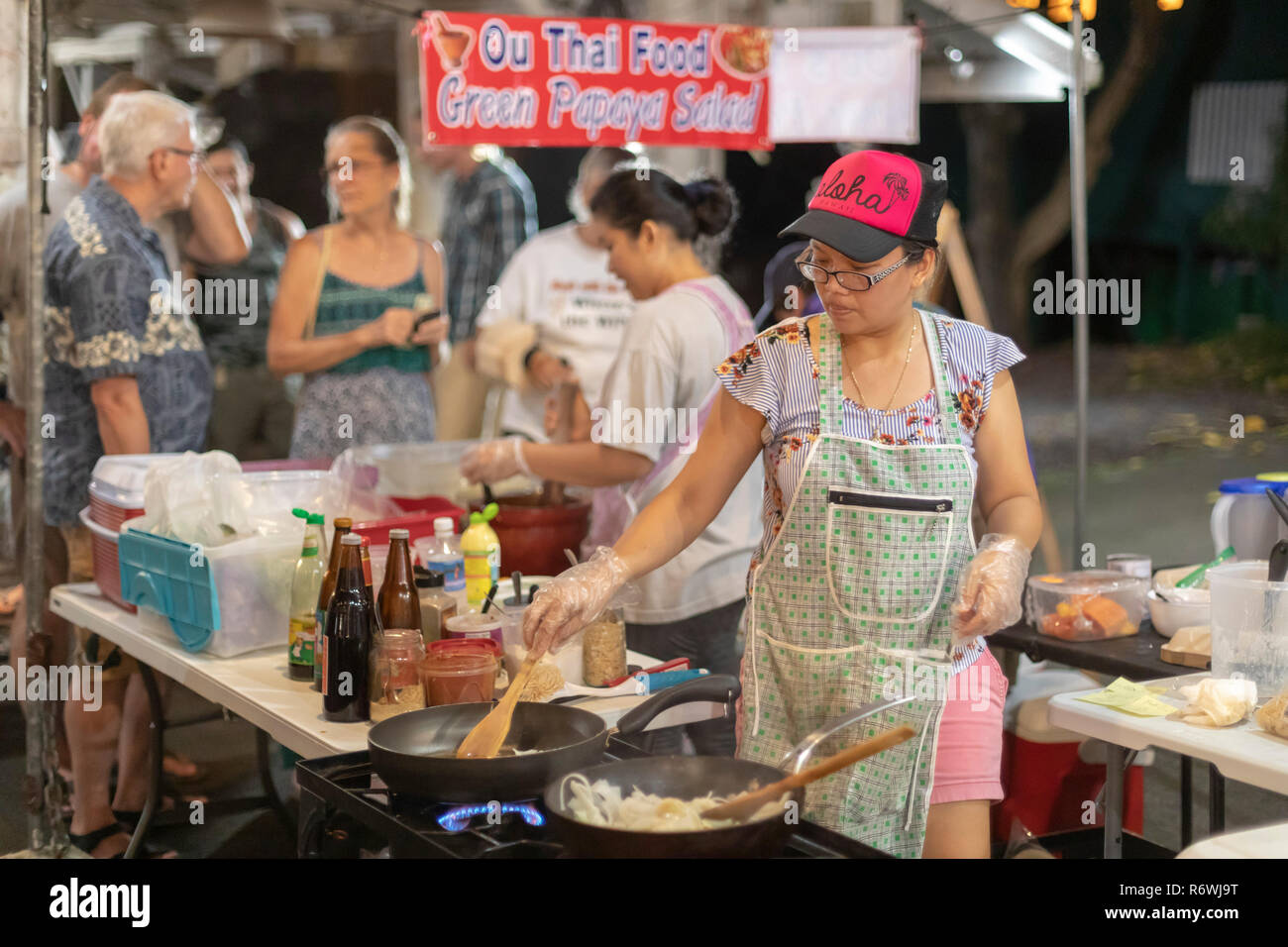 Kalapana, Hawaii - Hundreds attend the Kalapana Night Market every Wednesday for music, dancing, food, and crafts. The event was begun by the late Unc - Stock Image