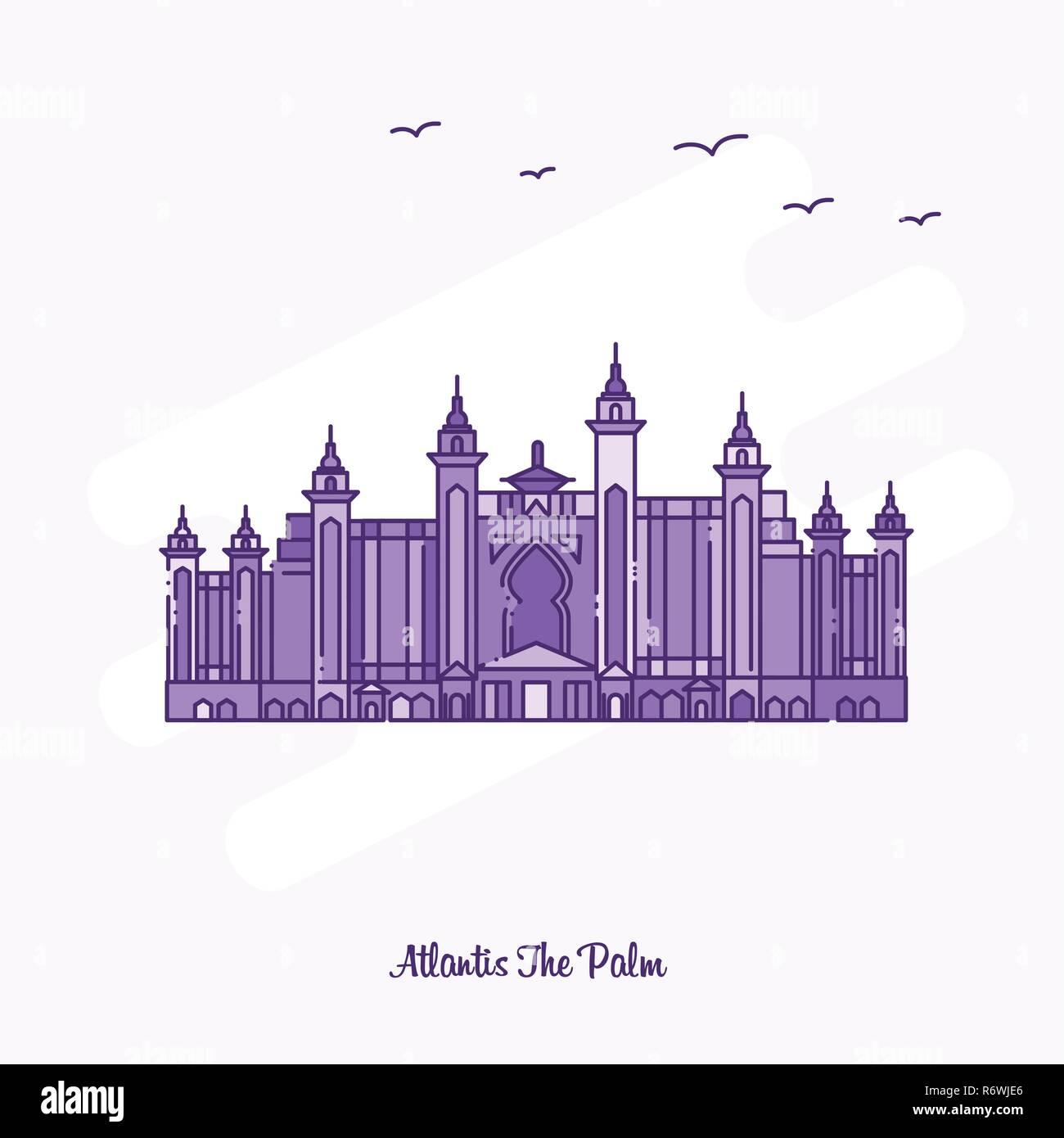 ATLANTIS THE PALM Landmark Purple Dotted Line skyline vector illustration - Stock Image