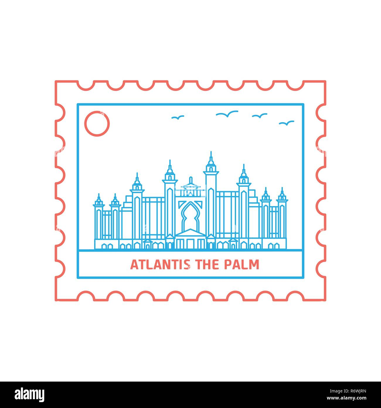 ATLANTIS THE PALM postage stamp Blue and red Line Style, vector illustration - Stock Image