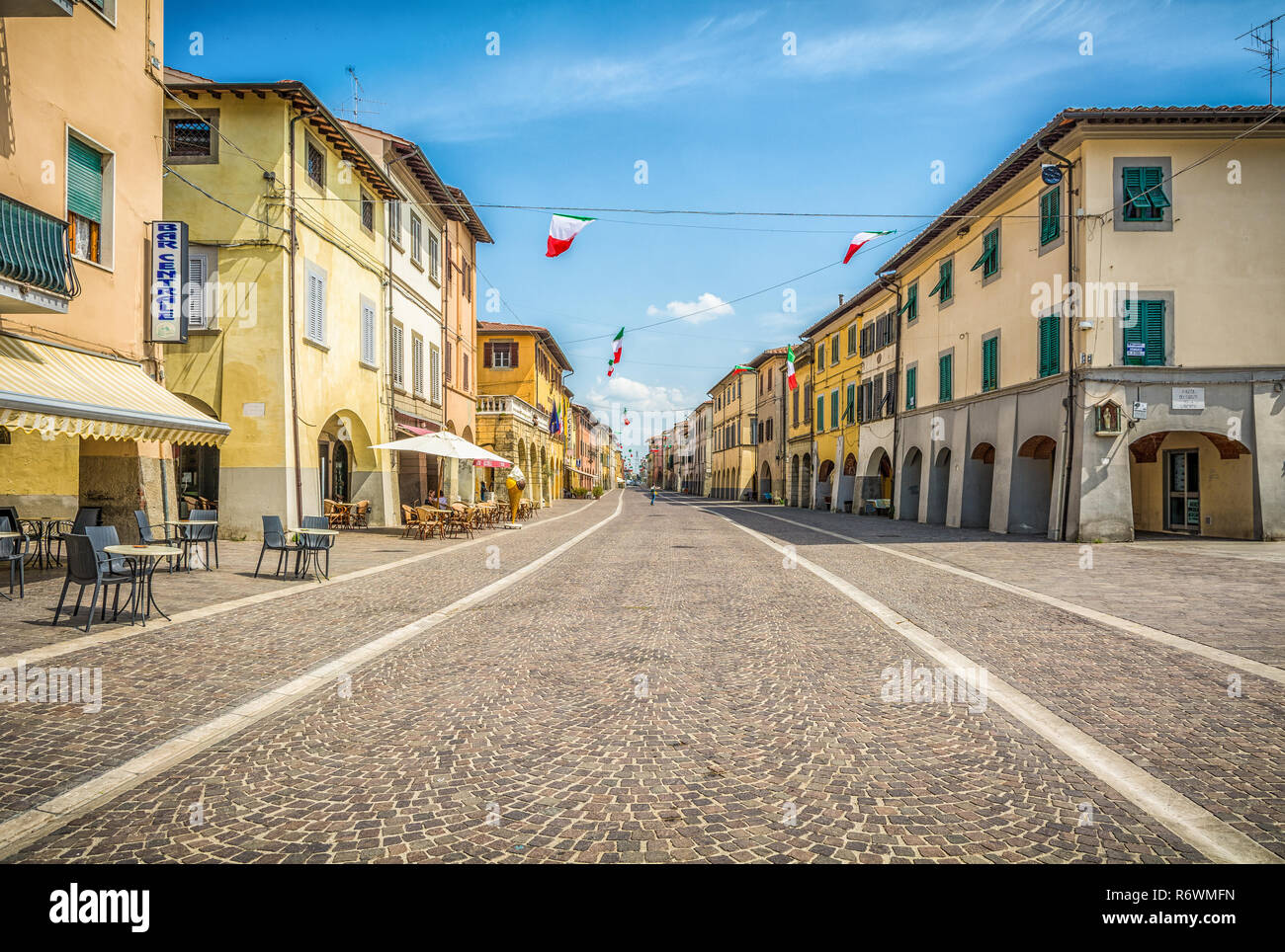 main road of the town of Cascina, Province of Pisa, Tuscany, Italy Stock Photo