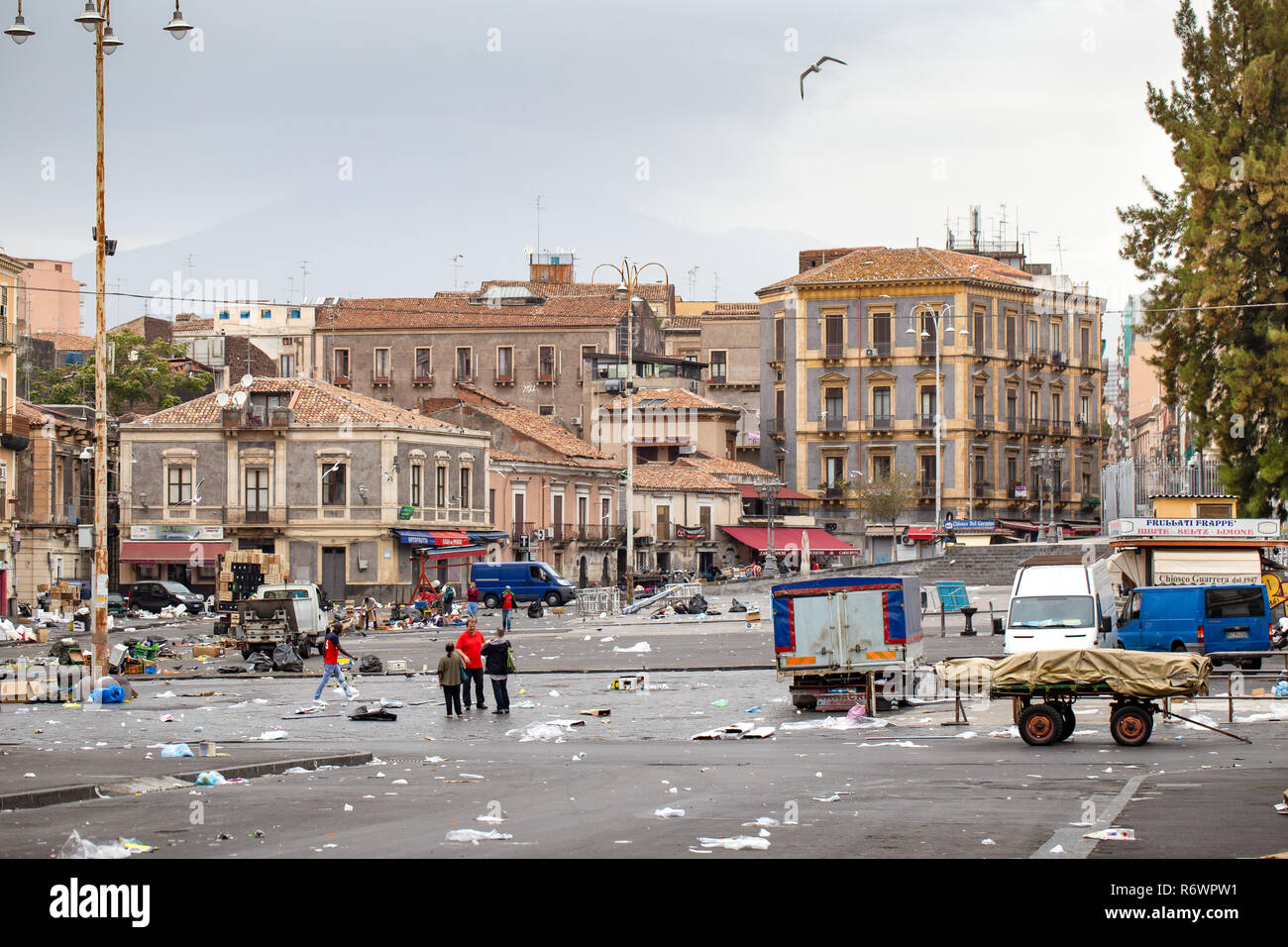 Catania, Sicily / Italy - Mess on the market place. After fair. - Stock Image