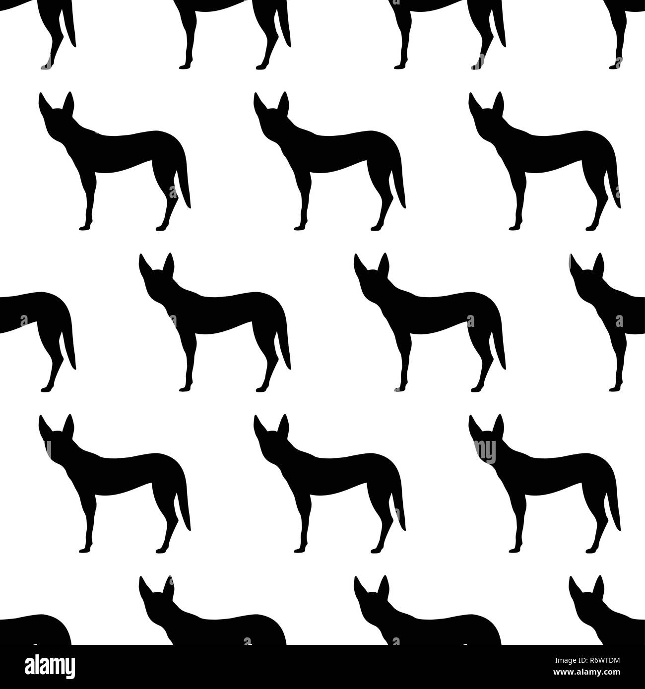 Seamless pattern with silhouettes of Dingo dog. Australian animal. Isolated on white background. Black silhouettes. Hand drawn. Vector illustration. - Stock Image